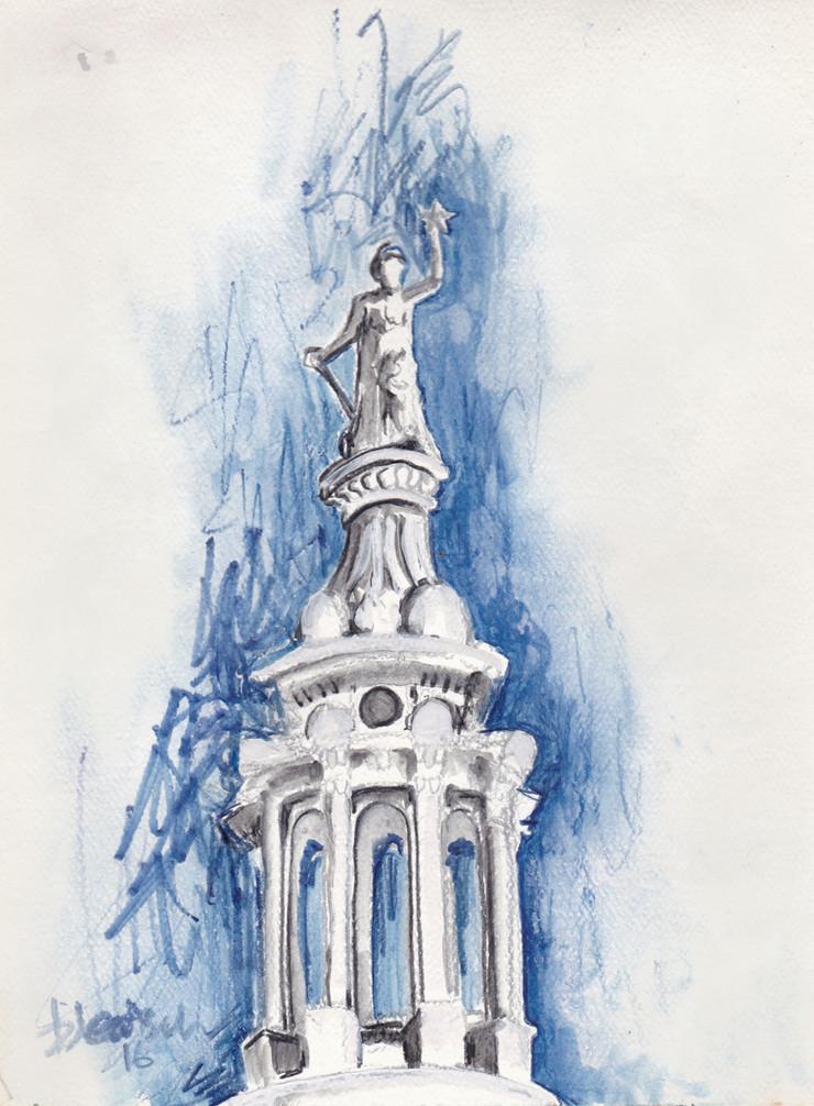 Texas Capitol II $150, Watercolor & Pastel 8 x 10 in.