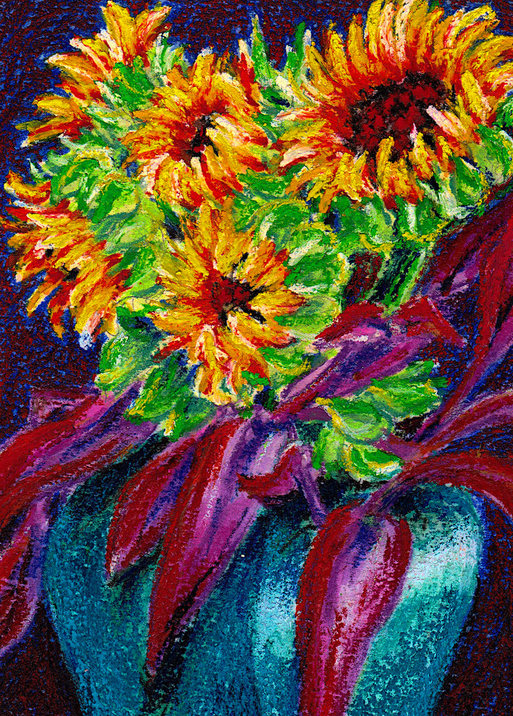 Sun Flowers II $75, 5 x 7 in. Watercolor & Pastel