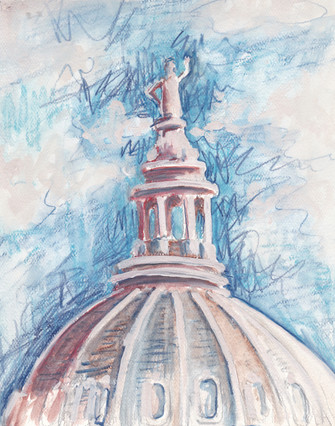 Texas Capitol I $150, Watercolor & Pastel 8 x 10 in.