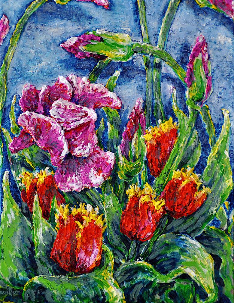 Iris & Tulips 2020 $250, 11x14 in. oil on canvas