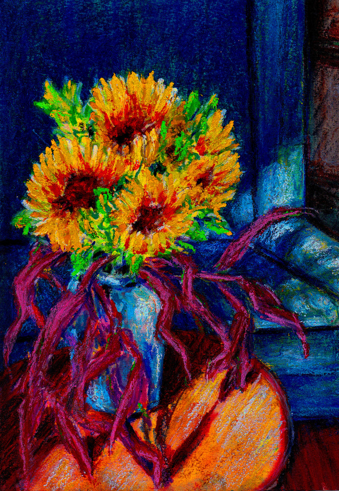 Sun Flowers I $75, 5 x 7 in. Watercolor & Pastel