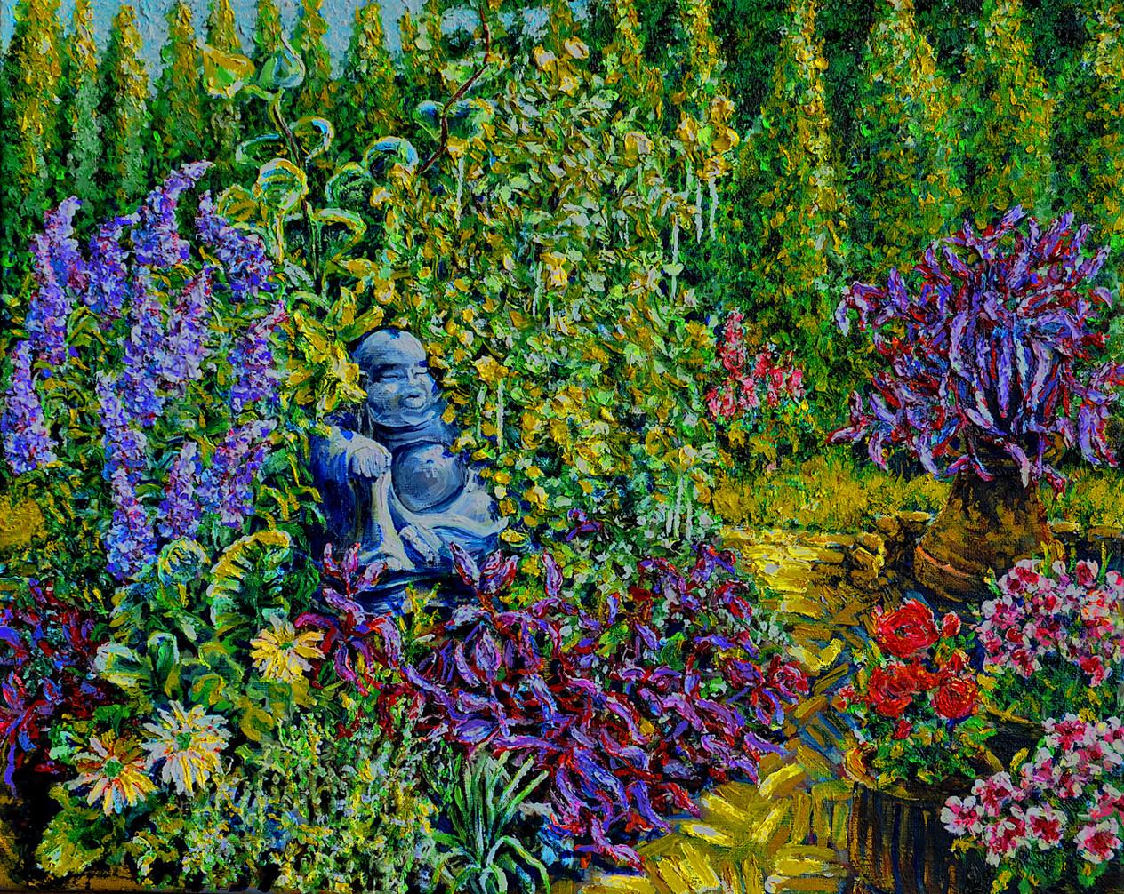 Buddha In Garden $450, 16 x 20 in. Oil on Canvas
