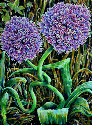 Blooming Garden Leeks $700, 18 x 24 Oil on Canvas