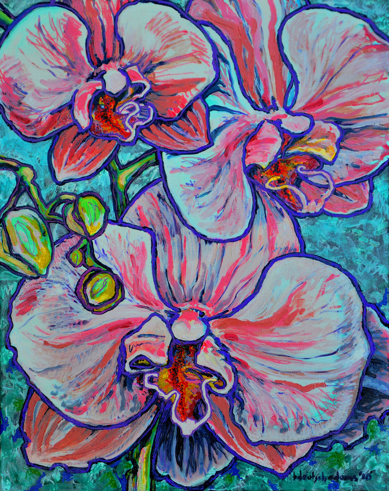 Birthday Orchids $450, 16 x 20 Oil on Canvas