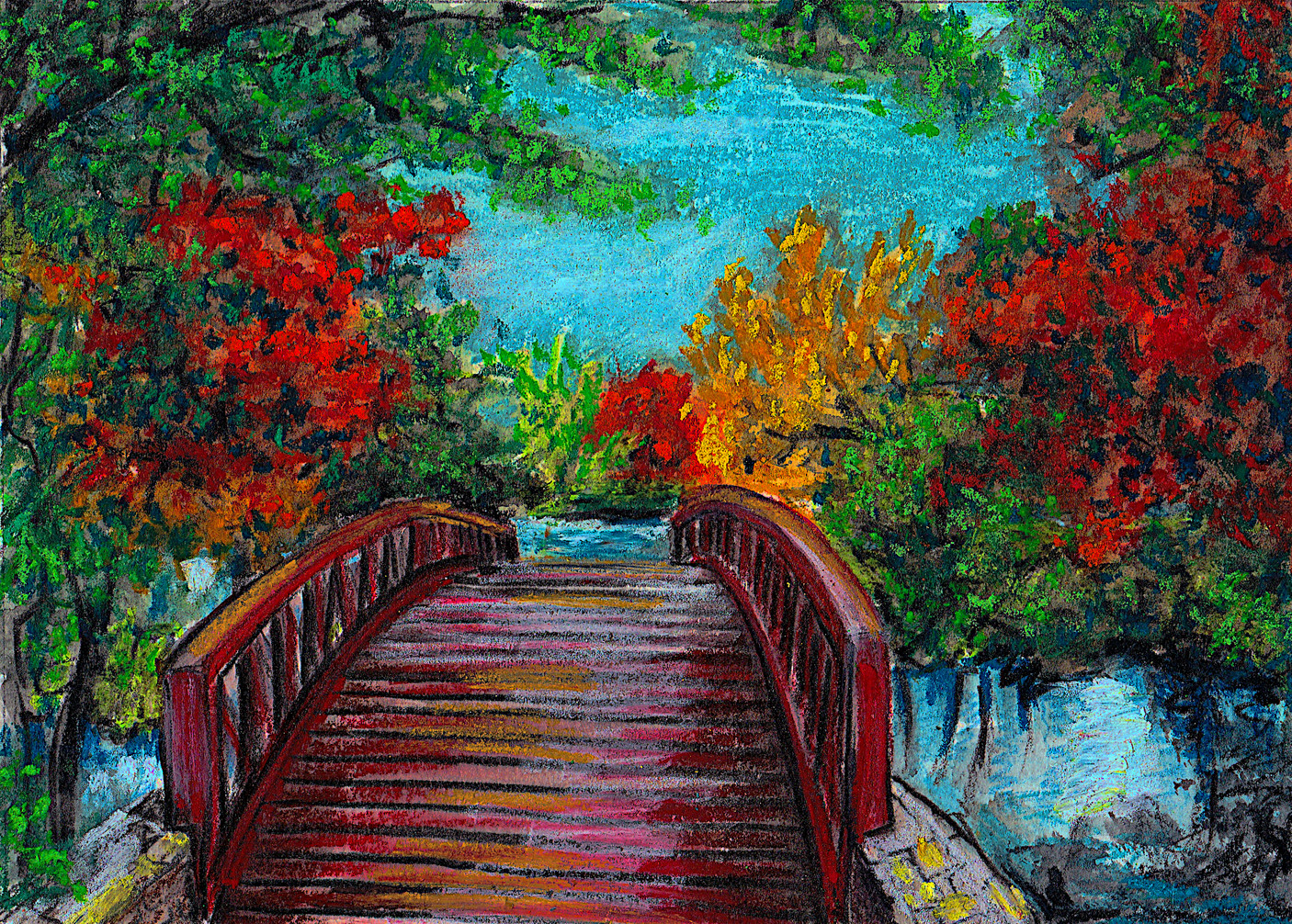 Austin Hike n Bike Bridge $75, 5 x 7 in. Watercolor & Pastel