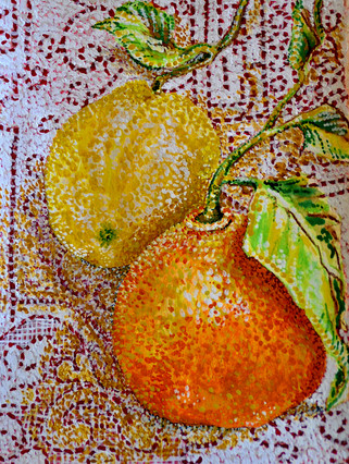 Citrus on Lace $150, Watercolor & Pastel 8 x 10 in.