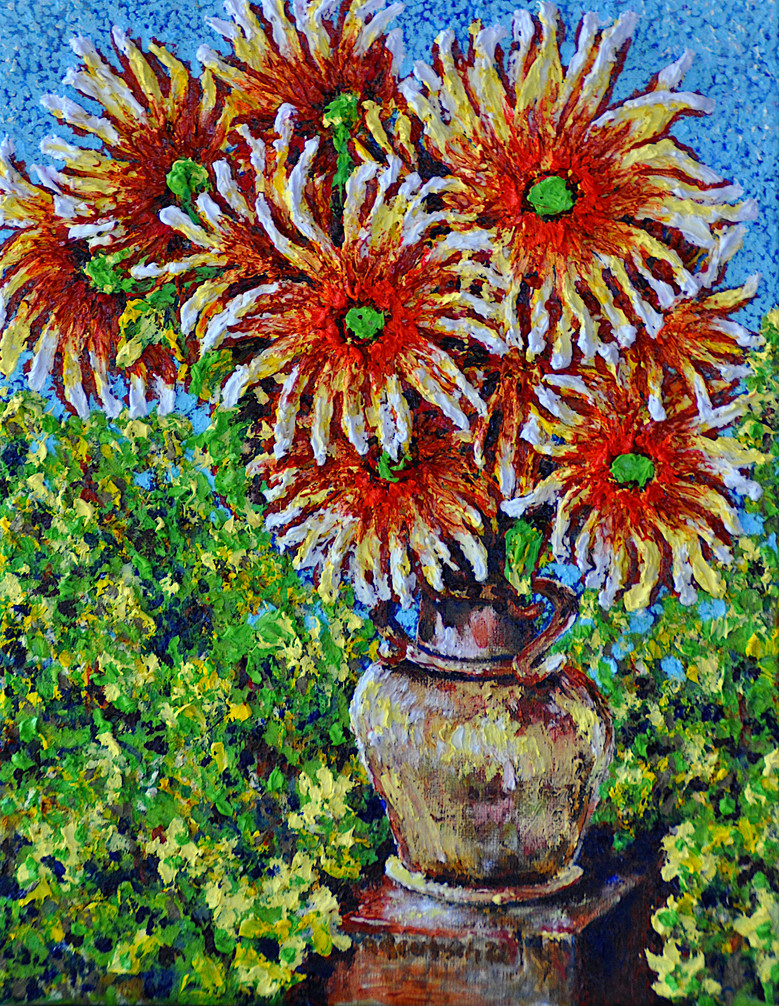 Flowers in Vase, $250, oil on canvas