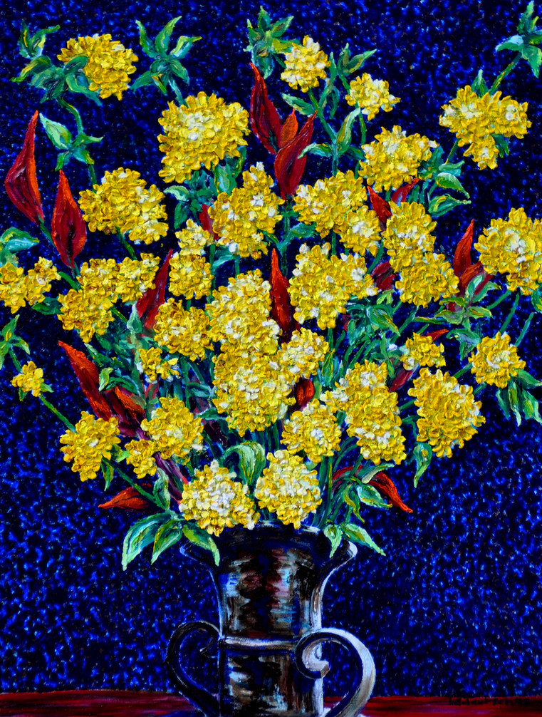 Yellow Flower Bouquet $1,100, Oil on Canvas 24 x 36 in.