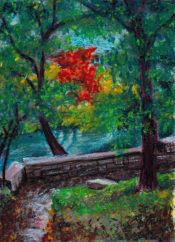 Austin Hike & Bike Trail $75, 5 x 7 in. Watercolor & Pastel