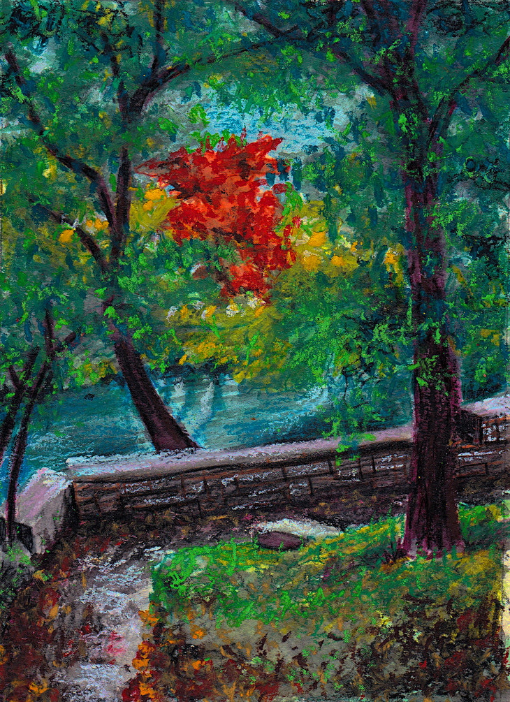 Austin Hike & Bike Trail $75, 5 x 7 in. Watercolor & Pastel