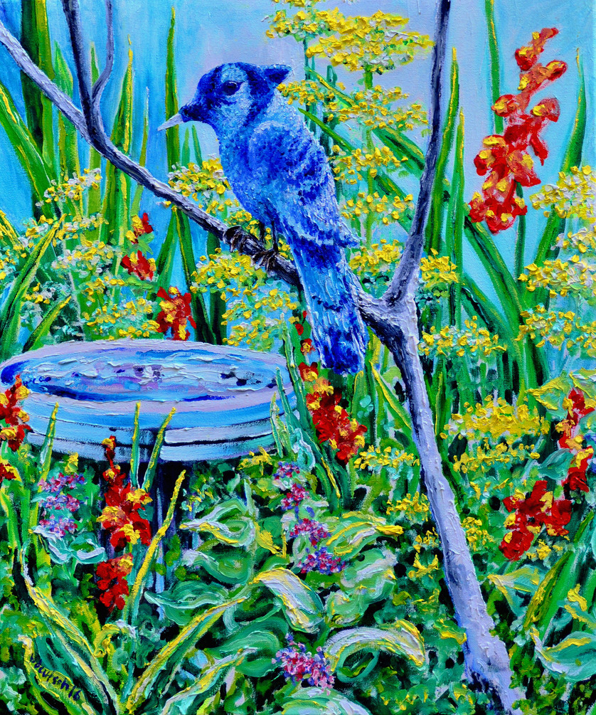 Bluejay At Birdbath $800, 20 x 24 in. Oil on Canvas