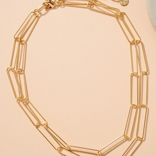 Chloe Double Layer Chain Link Necklace