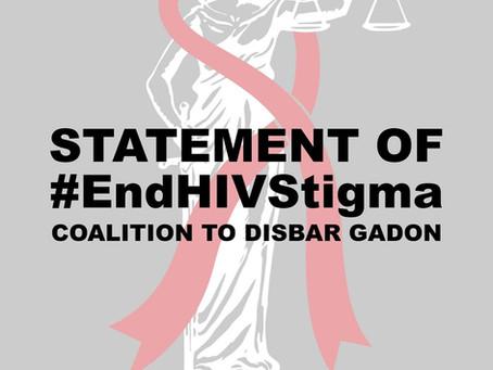 #EndHIVStigma COALITION TO DISBAR GADON