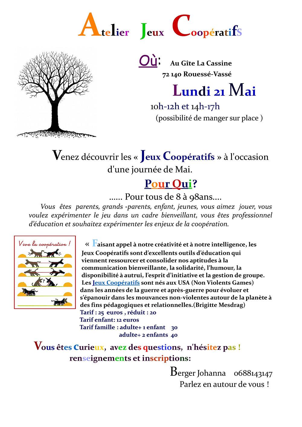 Organisation d'une journée atelier jeux coopératifs, le lundi 21 Mai
