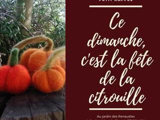 C'est la fête de la citrouille au jardin des Renaudies, nous y serons!