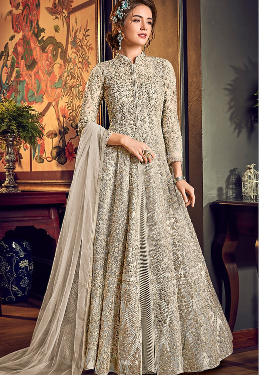 OFF WHITE NET EMBROIDERED WEDDING ANARKALI SUIT