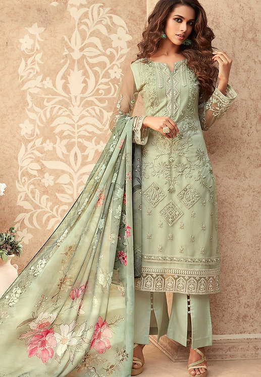 PASTEL GREEN NET EMBROIDERED STRAIGHT TROUSER SUIT