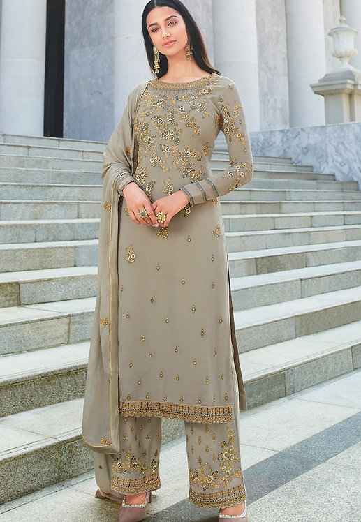 GREY GEORGETTE EMBROIDERED STRAIGHT TROUSER SUIT