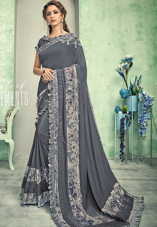 DARK GREY LYCRA DESIGNER EMBELLISHED SAREE