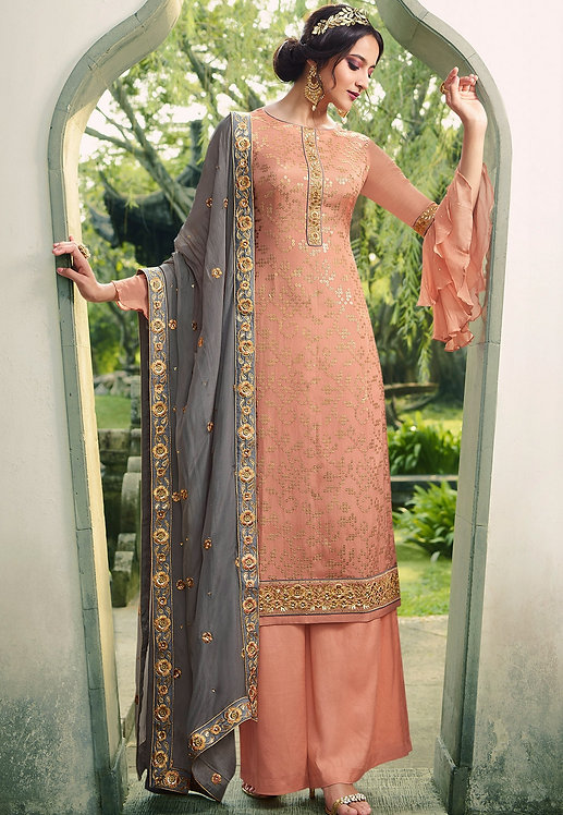 PEACH VISCOSE SILK EMBROIDERED PALAZZO SUIT