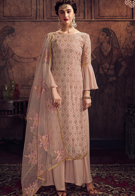 PEACH GEORGETTE EMBROIDERED PALAZZO SUIT