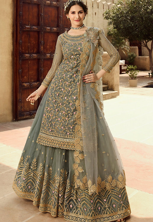 GREY NET EMBROIDERED SHARARA STYLE SUIT