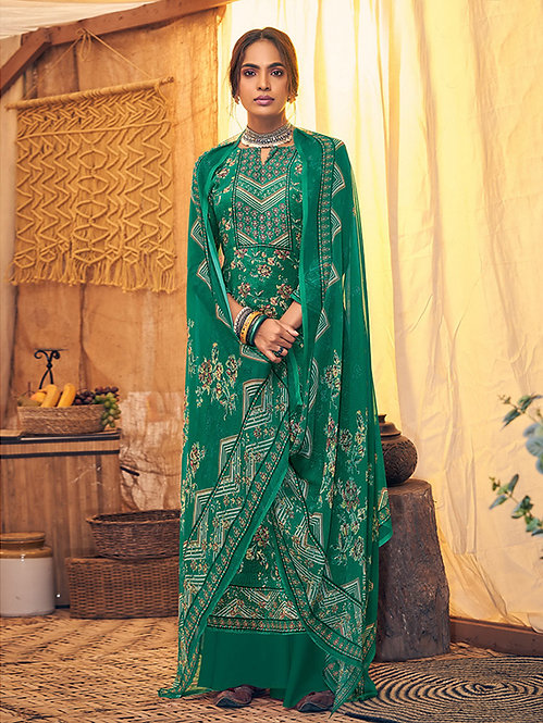 GREEN PURE VISCOSE VELVET DIGITAL PRINT WOOLLEN SUIT WITH SWAROVSKI WORK