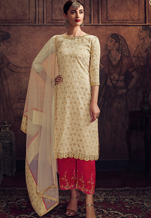 CREAM JACQUARD EMBROIDERED TROUSER SUIT