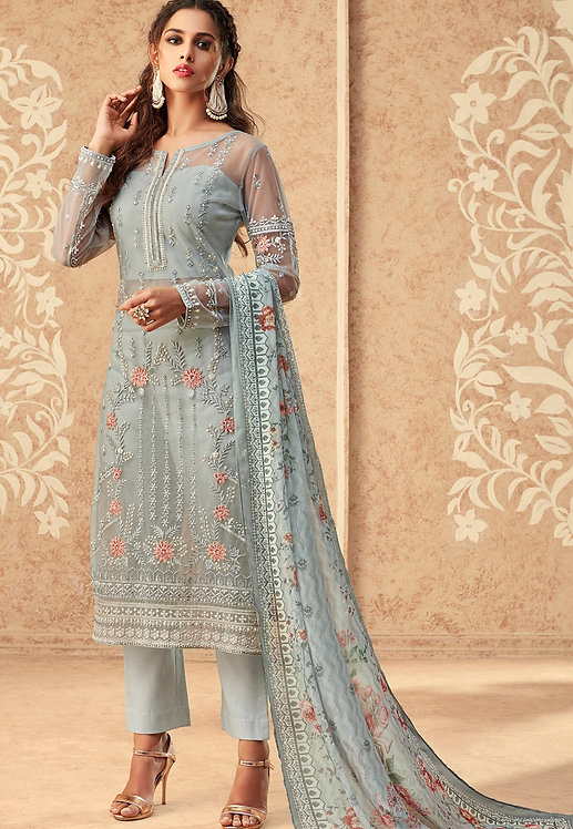 BLUE NET EMBROIDERED STRAIGHT TROUSER SUIT
