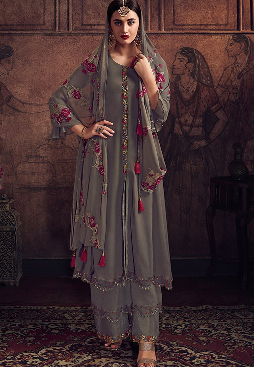 GREY GEORGETTE EMBROIDERED PALAZZO SUIT