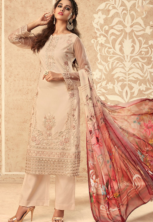 BEIGE NET EMBROIDERED STRAIGHT TROUSER SUIT