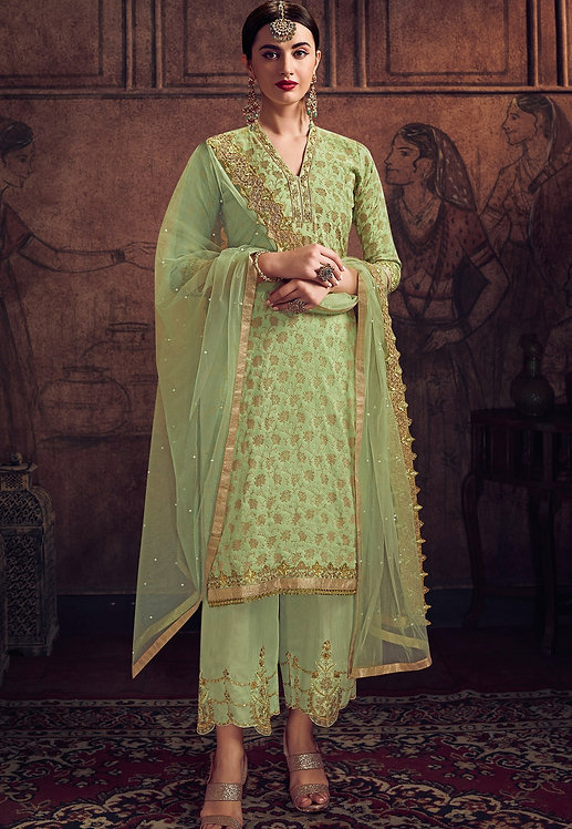 SEA GREEN JACQUARD EMBROIDERED TROUSER SUIT