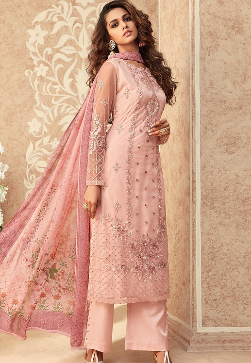PINK NET EMBROIDERED STRAIGHT TROUSER SUIT