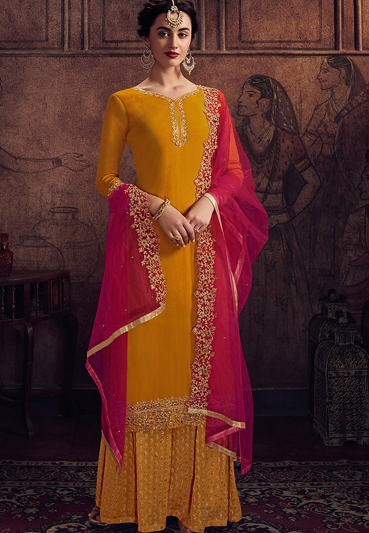 ORANGE GEORGETTE EMBROIDERED PALAZZO SUIT