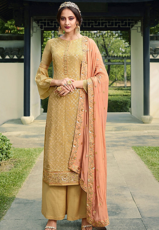 BEIGE VISCOSE SILK EMBROIDERED PALAZZO SUIT
