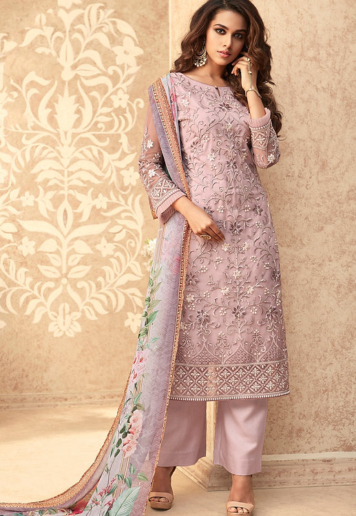 MAUVE NET EMBROIDERED STRAIGHT TROUSER SUIT