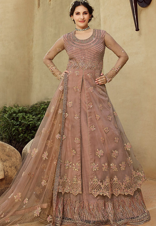 ROSE TAUPE NET EMBROIDERED LEHENGA STYLE SUIT