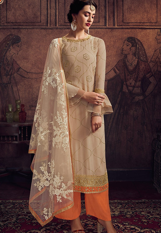 BEIGE GEORGETTE EMBROIDERED PALAZZO SUIT