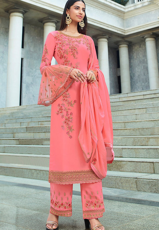 PINK GEORGETTE EMBROIDERED STRAIGHT TROUSER SUIT