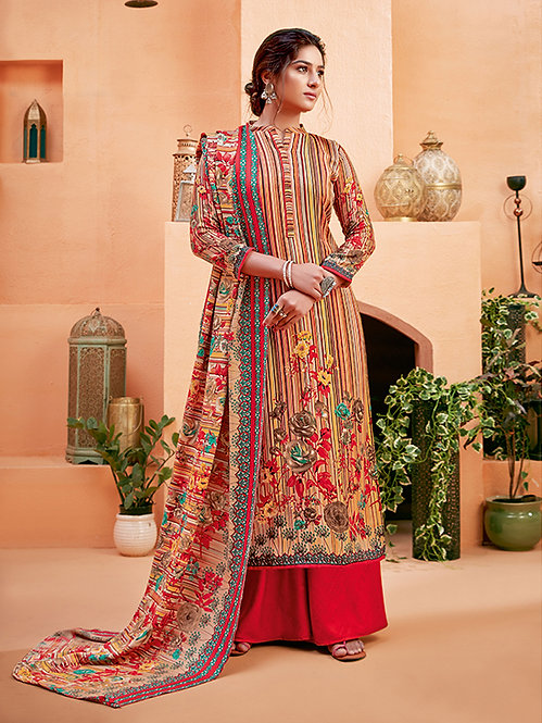 BRIGHT RED PURE WOOL PASHMINA PRINTED DESIGNER SALWAR KAMEEZ