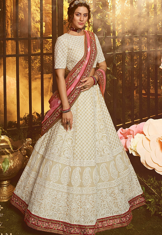 WHITE GEORGETTE EMBROIDERED LEHENGA CHOLI