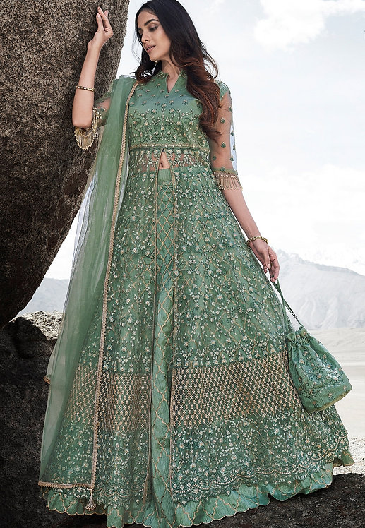 SEA GREEN NET EMBROIDERED LEHENGA STYLE ANARKALI SUIT