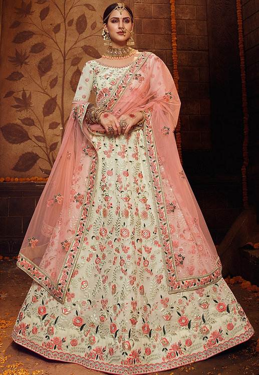 OFF WHITE GEORGETTE EMBROIDERED LEHENGA CHOLI