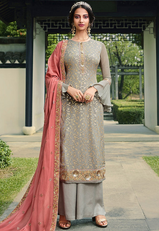 GREY VISCOSE SILK EMBROIDERED PALAZZO SUIT