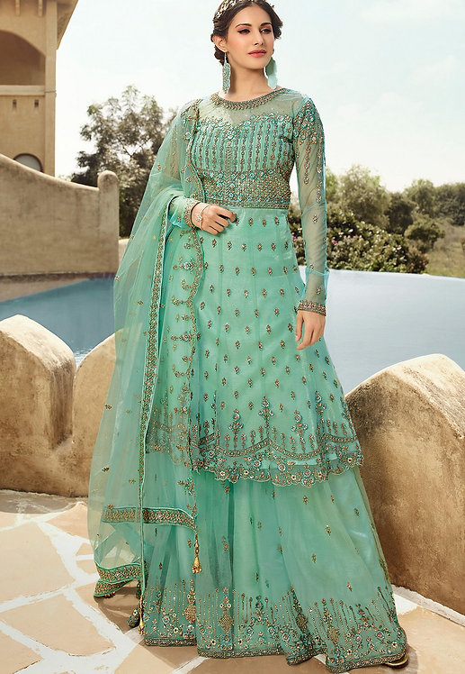 MINT BLUE NET EMBROIDERED SHARARA STYLE SUIT
