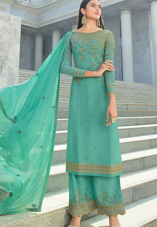 BLUE GEORGETTE EMBROIDERED STRAIGHT TROUSER SUIT