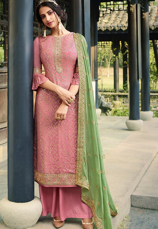 PINK VISCOSE SILK EMBROIDERED PALAZZO SUIT