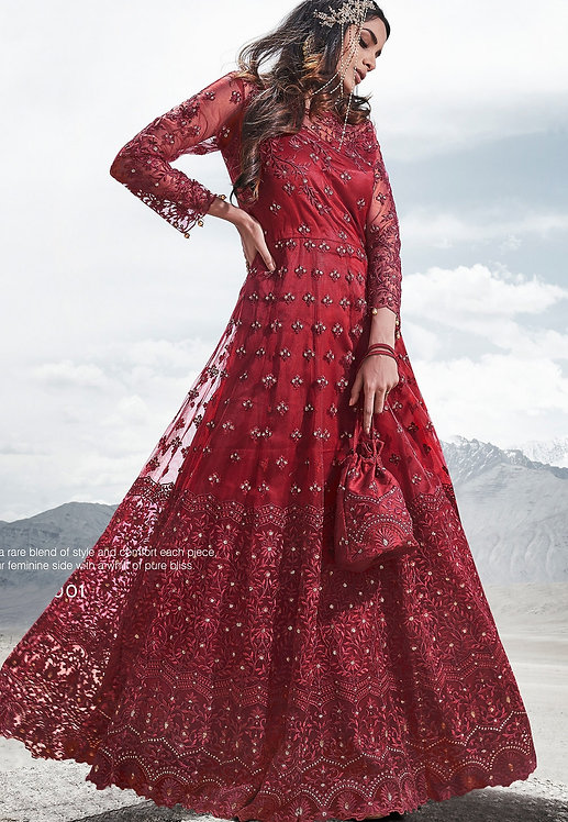 MAROON NET EMBROIDERED FLOOR LENGTH ANARKALI SUIT