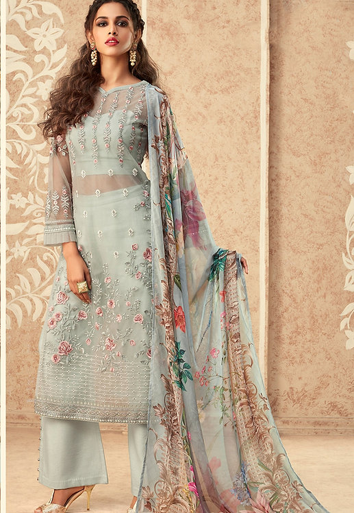 LIGHT BLUE NET EMBROIDERED STRAIGHT TROUSER SUIT