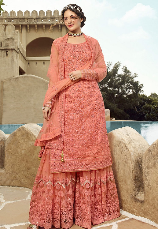 PEACH NET EMBROIDERED SHARARA STYLE SUIT